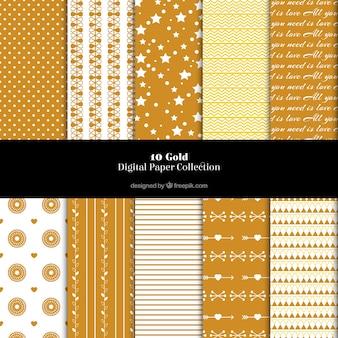 Patrones dorados con formas