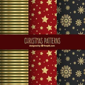 Patrones dorados de navidad