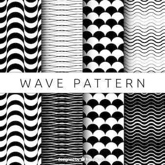 Patrones en blanco y negro con formas onduladas