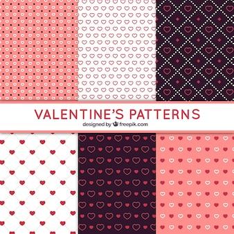 Patrones fantásticos con diferentes tipos de corazones para san valentín