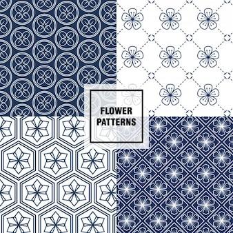 Patrones florales azul oscuro