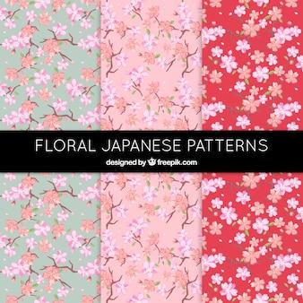 Patrones florales bonitos en estilo japonés