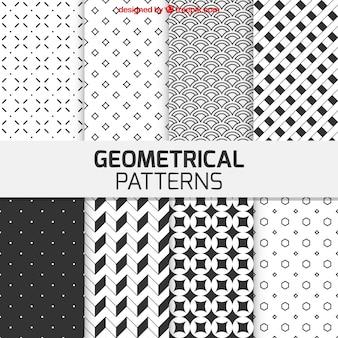 Patrones geométricos en color blanco y negro