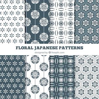 Patrones japoneses florales en blanco y negro