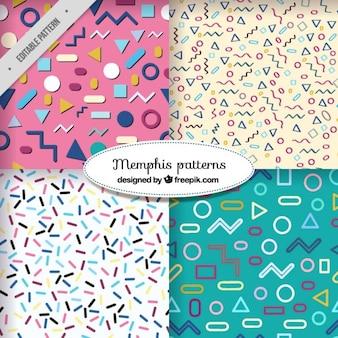 Patrones modernos con pequeñas formas geométricas