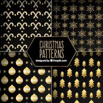 Patrones oscuros con elementos navideños dorados