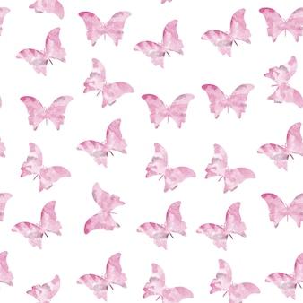 Patrones rosados sin costuras de mariposas de acuarela