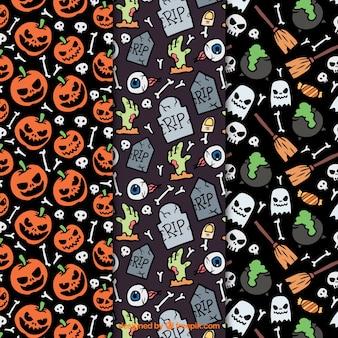 Patrones temáticos de halloween con muchos detalles