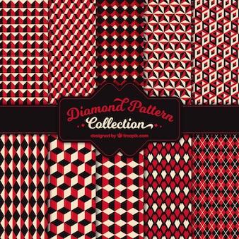 Patrones vintage de formas geométricas rojas