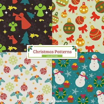Patrones vintage de navidad con elementos