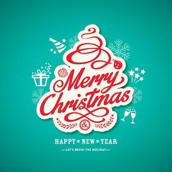 Pegatina navideña con lettering sobre un fondo azul