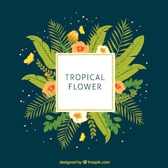 Pegatina tropical con hojas verdes exóticas