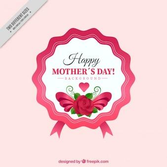 Pegatina vintage bonita del día de la madre con una rosa
