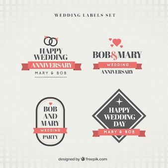 Pegatinas bonitas de aniversario de boda en diseño plano