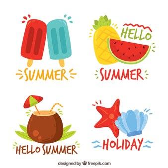 Pegatinas con elementos de verano