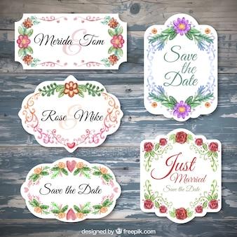 Pegatinas de bodas con flores