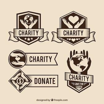 Pegatinas de donación en estilo retro