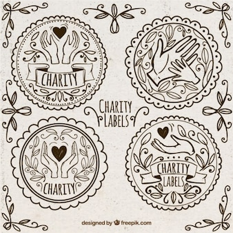 Pegatinas de donación ornamentales dibujadas a mano