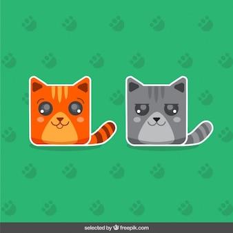 Pegatinas de dos gatos lindos