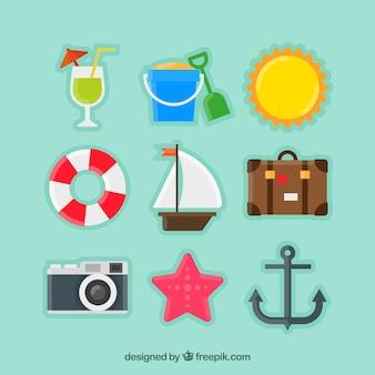 Pegatinas de elementos de viaje de verano