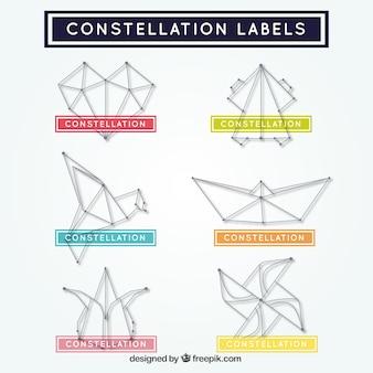 Pegatinas de formas abstractas de constelaciones