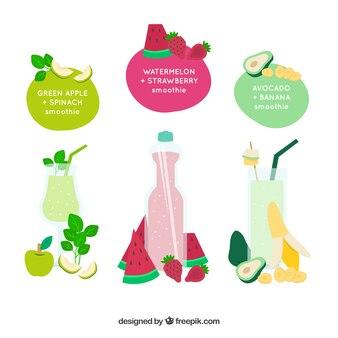 Pegatinas de frutas y zumos