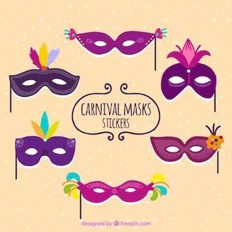 Pegatinas de máscaras moradas de carnaval