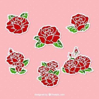 Pegatinas de rosas dibujadas a mano