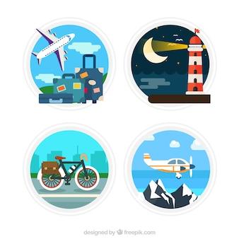 Pegatinas de viaje alrededor del mundo en diseño plano