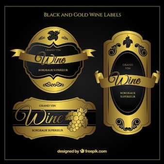 Pegatinas de vino doradas lujosas