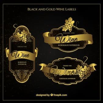 Pegatinas de vino vintage doradas
