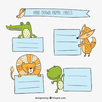 Pegatinas dibujadas a mano de animales