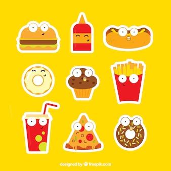 Pegatinas divertidas de comida rápida