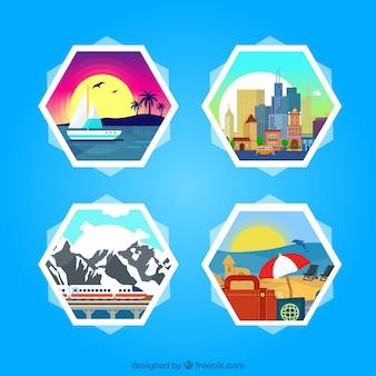 Pegatinas hexagonales de viaje de verano