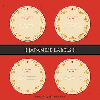 Pegatinas japonesas redondas con detalles florales dorados