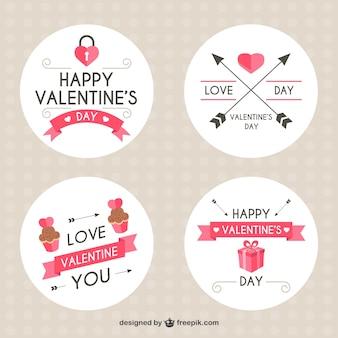Pegatinas redondas con detalles rosas para el día de san valentín