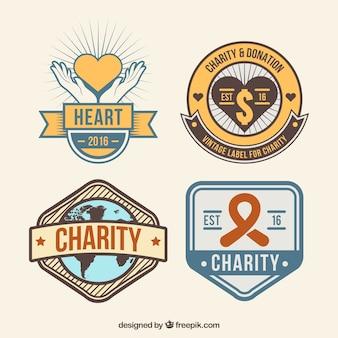 Pegatinas retro de donación en diseño plano