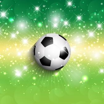 Pelota de fútbol en un fondo verde brillante
