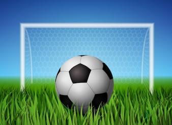 Pelota de fútbol y campo de hierba