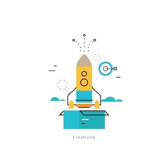 Pensando fuera de la caja de negocio plana ilustración vectorial bandera de diseño. Pensamiento creativo, lanzamiento de ideas, educación, investigación, entrenamientos, cursos, tutoriales. Diseño para gráficos móviles y web