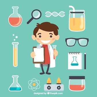 Pequeño científico con los elementos de laboratorio