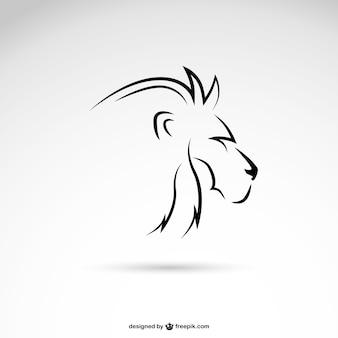 Perfil de león con líneas