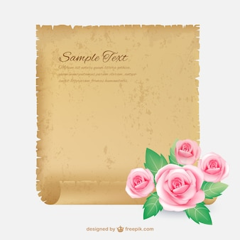 Pergamino con rosas
