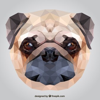 Perro pug Poligonal