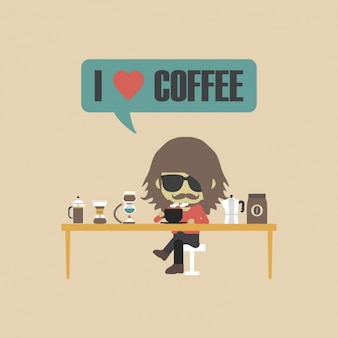 Personaje amante del café