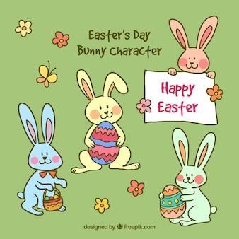 Personaje de conejito adorable dibujado a mano del día de Pascua
