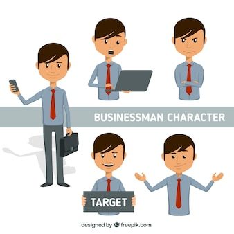 Personaje de hombre de negocios expresivo con corbata roja