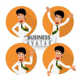 Personaje de hombre de negocios feliz