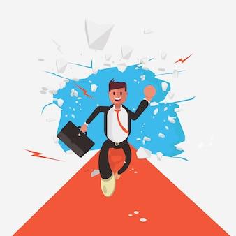 Personaje de hombre de negocios huyendo de una explosión