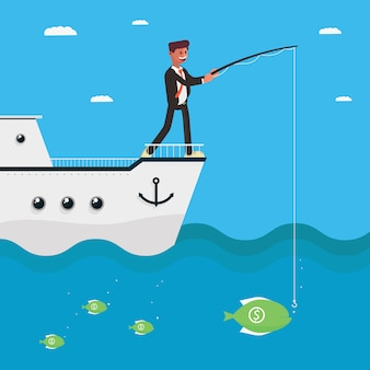 Personaje de hombre de negocios pescando